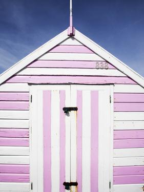 Pink and White Striped Beach Hut, Felixstowe, Suffolk, England, United Kingdom, Europe by Mark Sunderland