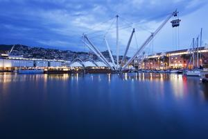 The Bigo with Lift Raised in the Old Port at Dusk, Genoa, Liguria, Italy, Europe by Mark Sunderland