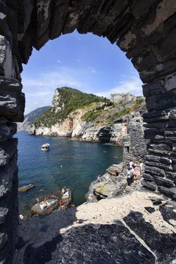Window Overlooking Byrons Grotto from the Church of St. Peter in Porto Venere by Mark Sunderland