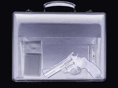 Handgun In Briefcase, Simulated X-ray by Mark Sykes