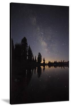 Lake with Reflection of the Milky Way and Silhouetted Trees, Lassen Volcanic Np, California, USA by Mark Taylor
