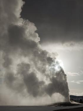 Old Faithful Spews as Much as 180 Feet into a Late-Winter Sky by Mark Thiessen