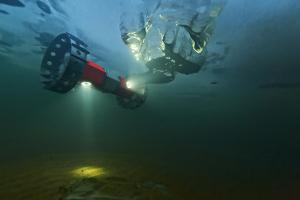 The Buoyant Rover for Under-Ice Exploration Crawls Along the Underside of the Surface Ice by Mark Thiessen