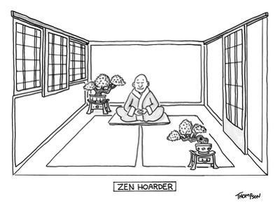 A man meditates in the middle of a sparse room with two bonsai trees. - New Yorker Cartoon