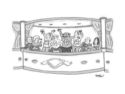 Men at the opera, with painted chests to read AIDA - New Yorker Cartoon