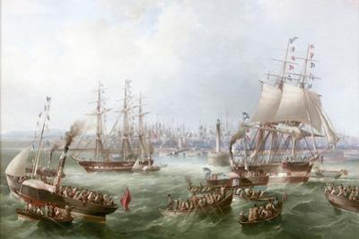 Opening of the South Outlet, Sunderland Docks, 1856