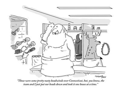 """""""Those were some pretty nasty headwinds over Connecticut, but you know, th…"""" - New Yorker Cartoon"""