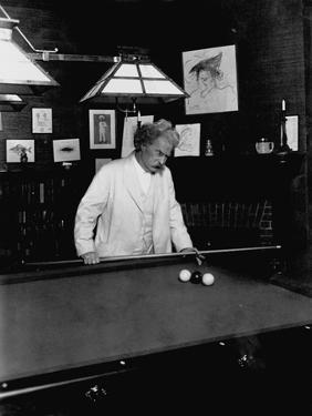 Mark Twain Playing Game of Pool
