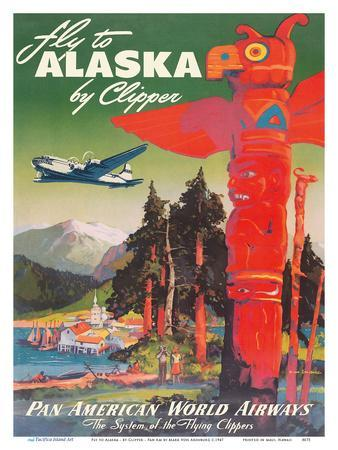 Fly to Alaska - by Clipper - Pan American World Airways - Native Totem Pole
