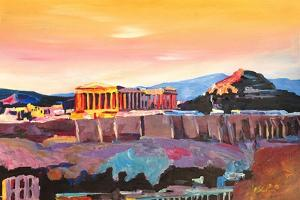 Athens Greece Acropolis At Sunset by Markus Bleichner