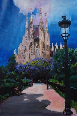 Barcelona Sagrada Familia with Park and Lantern