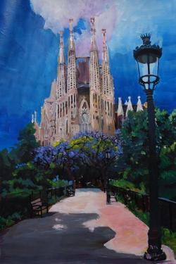 Barcelona Sagrada Familia with Park and Lantern by Markus Bleichner