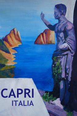 Capri view with Ancient Roman Empire Statue Poster by Markus Bleichner