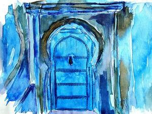 Chefchaouen Morocco Blue Door Watercolor by Markus Bleichner