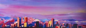 Denver Colorado Skyline with luminous Rocky Mounta by Markus Bleichner