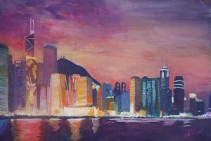 Hong Kong Skyline at Night by Markus Bleichner
