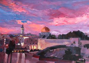 Jerusalem At Sunset by Markus Bleichner