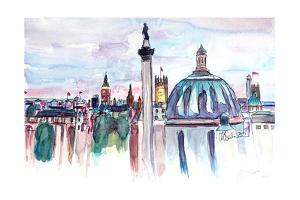 London Skyline with Big Ben and Nelson Column by Markus Bleichner