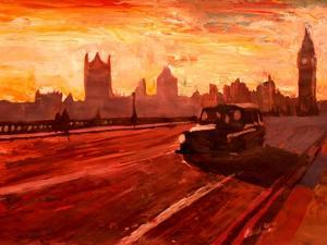 London Taxi Big Ben Sunset with Parliament by Markus Bleichner
