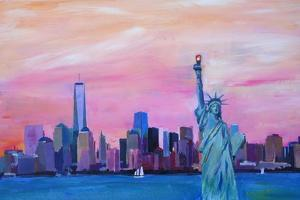 Manhattan Skyline with Downtown and Lady Liberty by Markus Bleichner