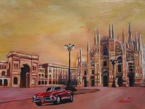 Milan Cathedral with Oldtimer Convertible Alfa Romeo by Markus Bleichner
