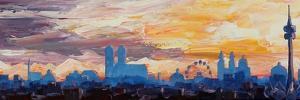 Munich Skyline at Dusk with Alps by Markus Bleichner