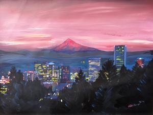 Portland Oregon with Mt Hood at Sunset by Markus Bleichner