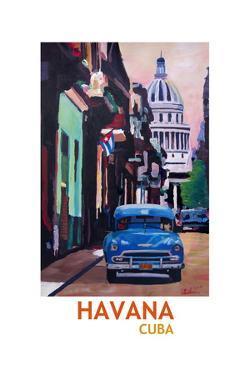 Poster Havana Cuba Street Scene Oldtimer Retro by Markus Bleichner