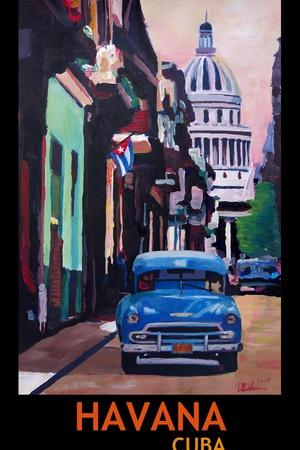 Poster Havana Cuba Street Scene Oldtimer Vintage