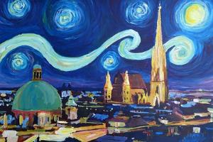Starry Night Vienna Austria St Stephan Cathedral by Markus Bleichner