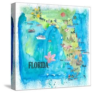 USA Florida Travel Poster Map With Highlights And Favorites by Markus Bleichner