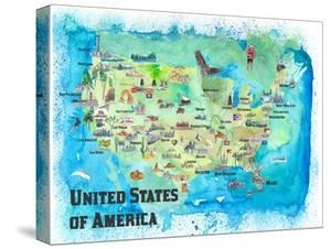 USA Map With Highlights by Markus Bleichner
