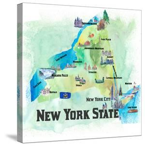 USA New York State Travel Poster Map With Highlights And Favorites by Markus Bleichner