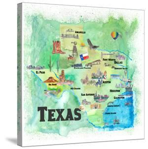 USA Texas Travel Poster Map With Highlights And Favorites by Markus Bleichner