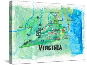 USA Virginia State Travel Poster by Markus Bleichner