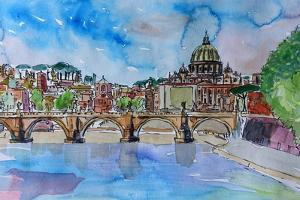 Vatican Rome Italy Sunset On River Tiber II by Markus Bleichner