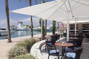 Cafe at Promenade at Marina, Portals Nous, Majorca, Balearic Islands, Spain, Mediterranean, Europe by Markus Lange