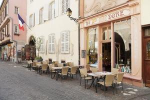 Cafe Au Croissant Dore, Rue Marchands, Colmar, Alsace, France, Europe by Markus Lange