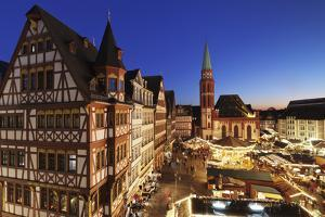 Christmas fair at Roemer, Roemerberg square, Nikolaikirche church, Frankfurt, Hesse, Germany, Europ by Markus Lange