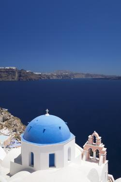 Church with Blue Dome with View of the Aegean Sea, Oia, Santorini, Cyclades, Greek Islands by Markus Lange