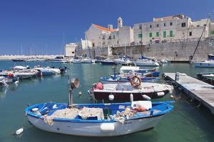Fishing Boats at the Harbour, Old Town with Cathedral, Giovinazzo, Bari District, Puglia by Markus Lange