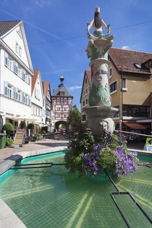 Fountain at Unteres Tor Tower, Old Town, Bietigheim-Bissingen