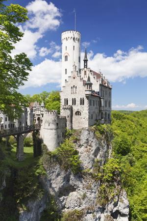 Lichtenstein Castle in Spring, Swabian Alb, Baden Wurttemberg, Germany, Europe by Markus Lange