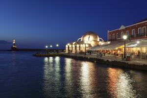 Lighthouse at Venetian Port and Turkish Mosque Hassan Pascha at Night, Chania, Crete by Markus Lange