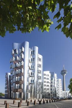 Neuer Zollhof, Designed by Frank Gehry, and Rheinturm Tower by Markus Lange