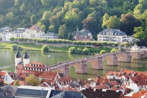 Old town with Karl-Theodor Bridge (Old Bridge) and gate, Neckar River, Heidelberg, Germany by Markus Lange