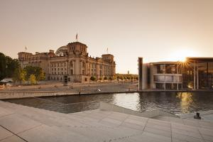Reichstag Parliament Building at sunset, The Paul Loebe Haus building, Mitte, Berlin, Germany by Markus Lange