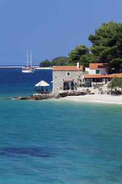 Restaurant at the Beach with Sailing Boat, Bol, Brac Island, Dalmatia, Croatia, Europe by Markus Lange