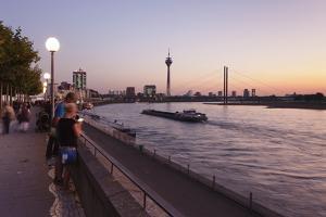 Rhein Promenade with Rheinturm Tower and Rheinkniebrucke Bridge by Markus Lange