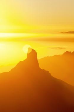 Roque Bentayga and Tenerife in Distance, Gran Canaria, Canary Islands, Spain, Atlantic, Europe by Markus Lange